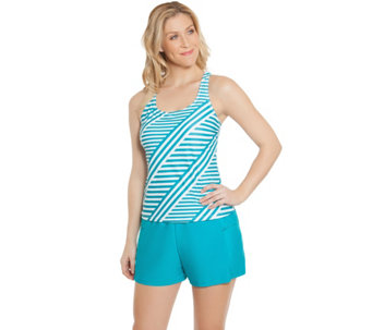 """As Is"" Ocean Dream Signature Stripe Play Tankini Swimsuit - A285066"