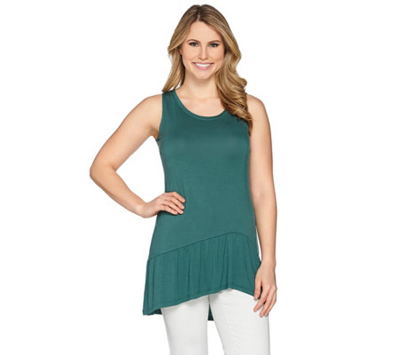LOGO Layers by Lori Goldstein Knit Tank with Asymmetrical Peplum