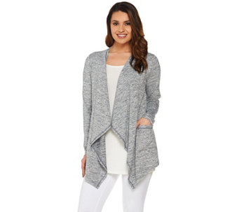 """As Is"" LOGO by Lori Goldstein Space Dye Open Front Knit Cardigan - A287966"