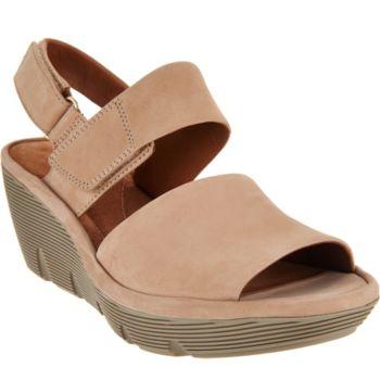 Clarks Artisan Leather Wedge Sandals - Clarene Allure