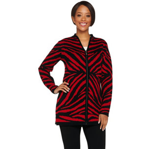 """As Is"" Dennis Basso Zebra Jacquard Zip Front Cardigan - A291166"
