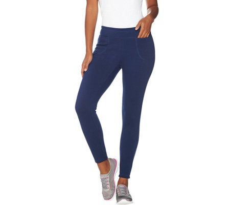 """As Is"" Denim & Co. Active Pull-On Pants w/ Wide Yoke Waistband"