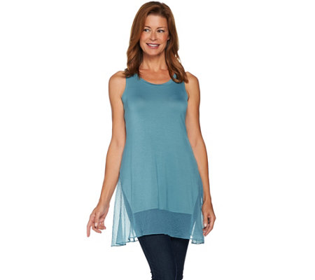"""As Is"" LOGO Layers by Lori Goldstein Knit Tank with Textured Trim"