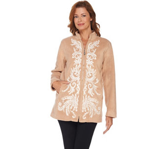 """As Is"" Bob Mackie's Embroidered Zip Front Fleece Jacket - A294366"