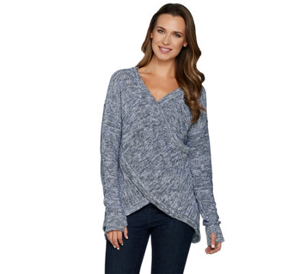 Peace Love World Reversible Cross-Over Marled Sweater