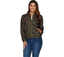 Studio by Denim & Co. Camo Print Zip Front Bomber Jacket - A295066