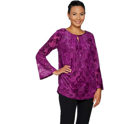 Isaac Mizrahi Live! Burnout Velvet Bell Sleeve Tunic with Keyhole