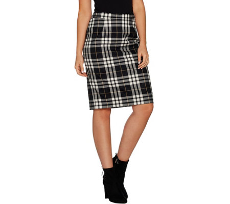 Joan Rivers Tartan Plaid Slim Skirt