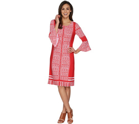 Susan Graver Printed Liquid Knit Dress with Bell Sleeves