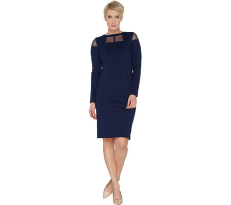 Lisa Rinna Collection Ponte Dress with Sheer Neck Detail
