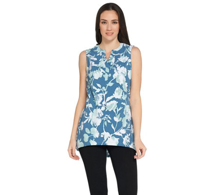 Denim & Co. Floral Print Sleeveless Y-Neck Tank w/ Hi-Low Hem