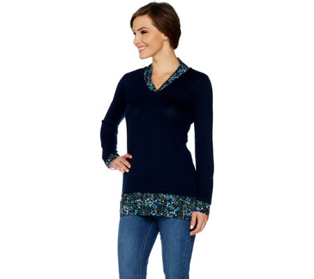 """As Is"" Kelly by Clinton Kelly Printed Mock Layer V-neck Top"