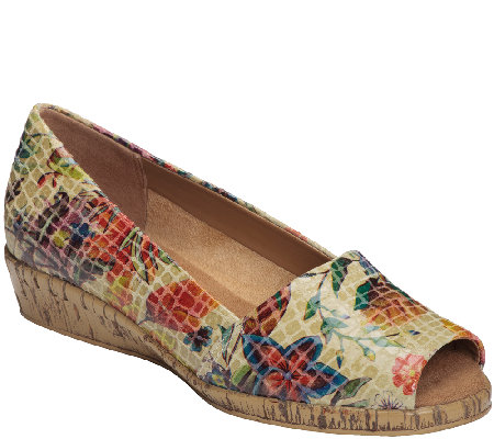 Aerosoles Sprig Break Leather Peep Toe Wedge Slip-on Shoes