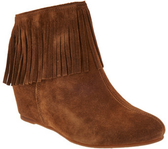Comfortiva by Softspots Suede Fringe Ankle Boots - Riverton - A355166