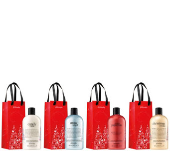 philosophy holiday 4-piece shower gel collection w/ gift bags - A363066