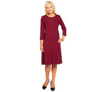 Susan Graver Ponte Knit Jewel Neck 3/4 Sleeve Swing Dress - A92766