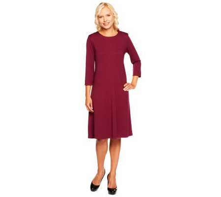 Susan Graver Ponte Knit Jewel Neck 3/4 Sleeve Swing Dress