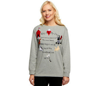 "Quacker Factory French Terry ""Why I Love"" Sweatshirt - A15767"