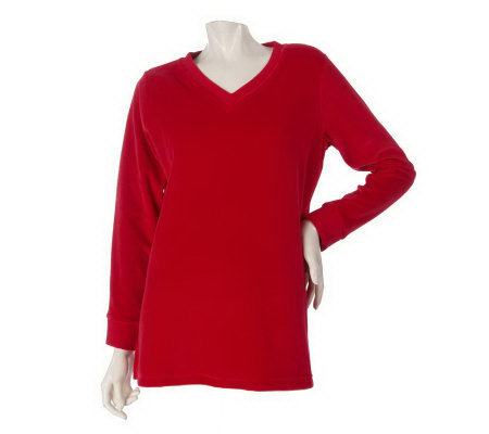 Denim & Co. Essentials Long Sleeve Velour Tunic w/ Ribbed Trim