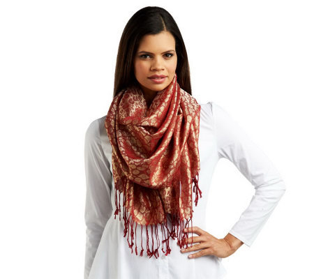 Liz Claiborne New York Metallic Animal Pashmina with Fringe Detail