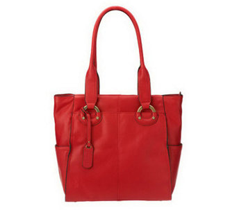 B. Makowsky Glove Leather Zip Top Tote with Side Pockets - A221267