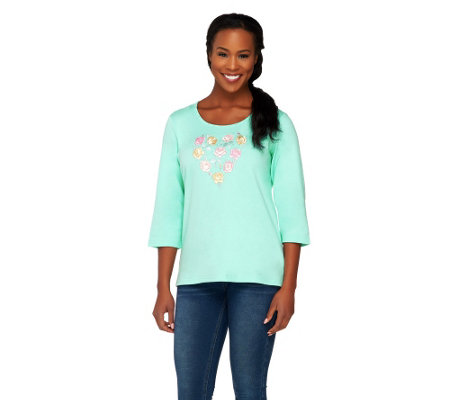 Quacker Factory Embroidered Floral Heart 3/4 Sleeve T-shirt