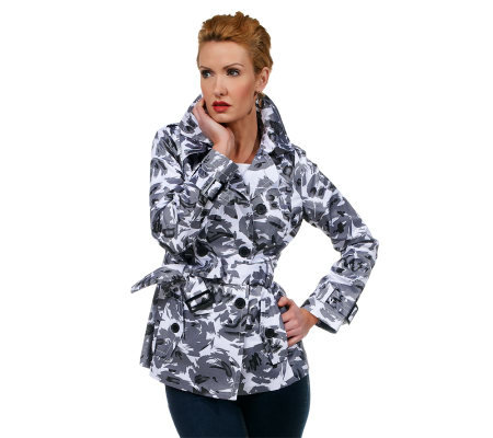 Joan Rivers Floral Print Short Belted Trench