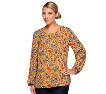 Liz Claiborne New York Paisley Printed Tunic with Keyhole Detail - A236967