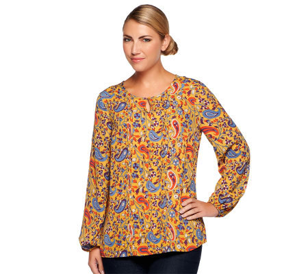 Liz Claiborne New York Paisley Printed Tunic with Keyhole Detail