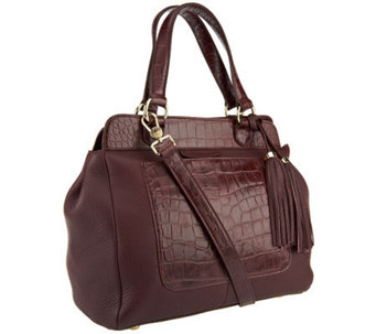 Isaac Mizrahi Live! Bridgehampton Croco Embossed Leather Satchel - A238267