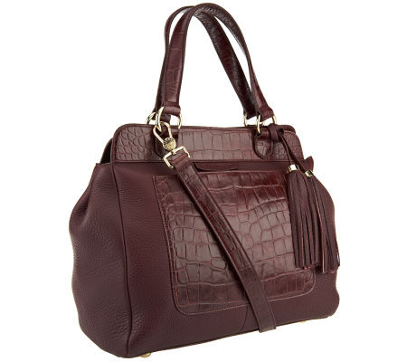 Isaac Mizrahi Live! Bridgehampton Croco Embossed Leather Satchel