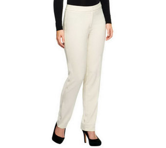 Susan Graver Chelsea Stretch Tuxedo Pants with Elastic Back - A238667