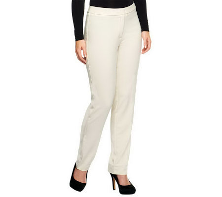 Susan Graver Chelsea Stretch Tuxedo Pants with Elastic Back