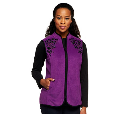 Susan Graver Fleece Vest w/ Front Zipper and Contrast Embellishments