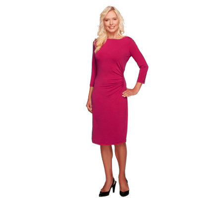 George Simonton Jersey Knit Petite Grecian Ruched Dress