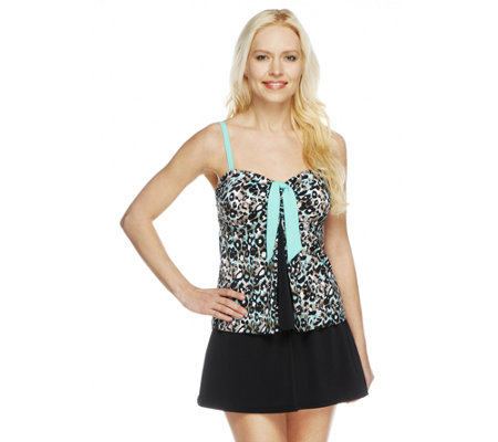 Fit 4 U Tummy Skinz Tie Pleat Top with Skirtini