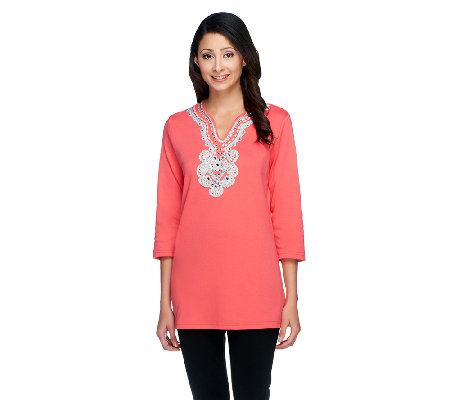 Quacker Factory 3/4 Sleeve Beaded Medallion T-shirt