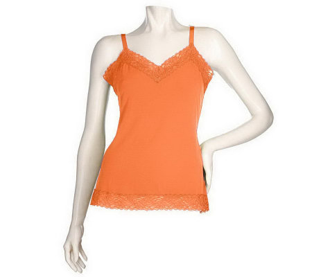 """As Is"" Susan Graver Essentials Liquid Knit Trim Camisole"