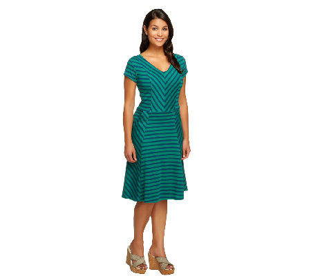 Isaac Mizrahi Live! Striped V-Neck Knit Dress
