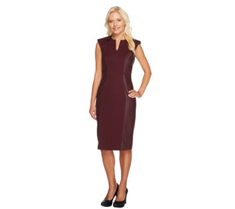 G.I.L.I. Petite Sleeveless Dress with Faux Leather Detail - A256267