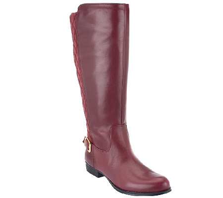 Isaac Mizrahi Live! Wide Calf Leather Quilted Riding Boots