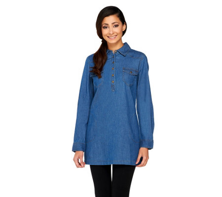 Denim & Co. Regular Stretch Denim Tunic Shirt w/ Pockets