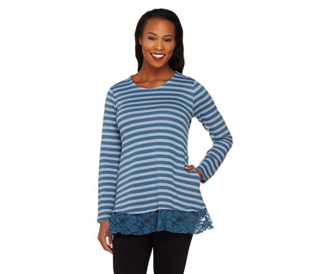 LOGO by Lori Goldstein Striped Jacquard Top with Lace Hem