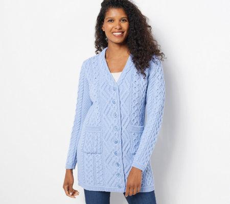 Aran Craft Merino Wool Long Boyfriend Button Front Cardigan - Page ...