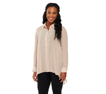 Susan Graver Sheer Chiffon Long Sleeve Button Front Big Shirt