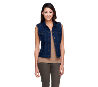 """As Is"" Denim & Co. Button Front Stretch Denim Cropped Vest - A262167"