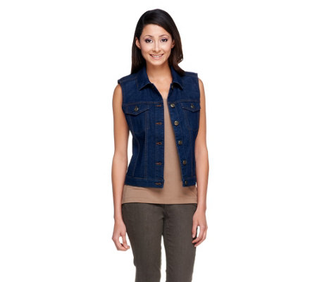 """As Is"" Denim & Co. Button Front Stretch Denim Cropped Vest"