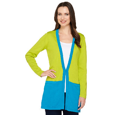 Joan Rivers Color Block Boyfriend Cardigan