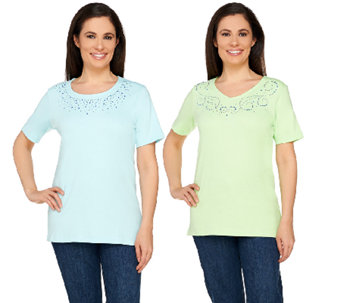 Quacker Factory Set of Two Sparkle and Shine T-shirts - A262867