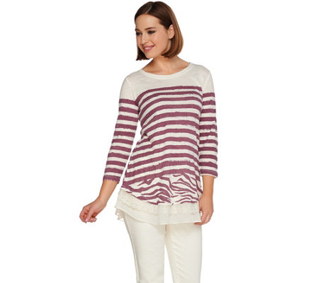 LOGO by Lori Goldstein Stripe Slub Top with Lace and Chiffon Hem